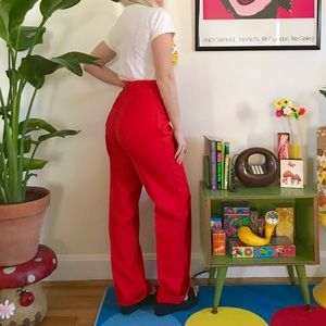 Vintage 70s cherry red high waisted disco pants M